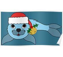 Light Blue Baby Seal with Santa Hat, Holly & Gold Bell Poster