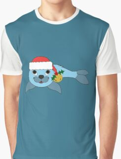 Light Blue Baby Seal with Santa Hat, Holly & Gold Bell Graphic T-Shirt