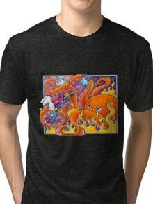 Bunny vs Fire Octopus Tri-blend T-Shirt