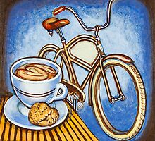 Brown Electra delivery bicycle coffee and amaretti by markhowardjones