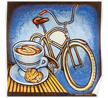 Brown Electra delivery bicycle coffee and amaretti Poster