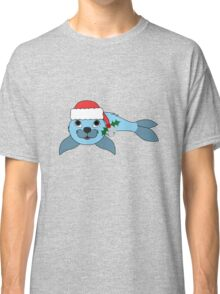 Light Blue Baby Seal with Santa Hat, Holly & Silver Bell Classic T-Shirt