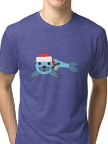 Light Blue Baby Seal with Santa Hat, Holly & Silver Bell Tri-blend T-Shirt