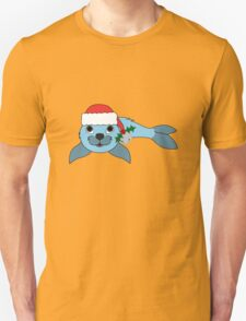 Light Blue Baby Seal with Santa Hat, Holly & Silver Bell T-Shirt