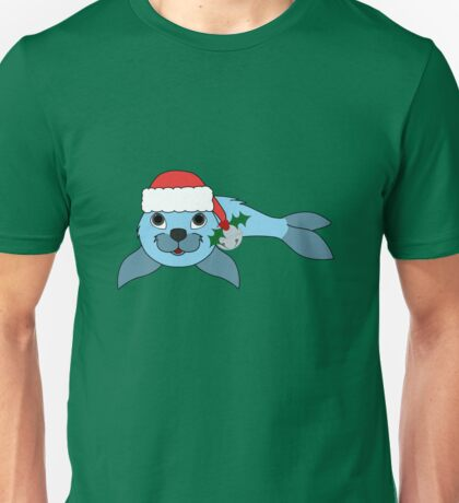 Light Blue Baby Seal with Santa Hat, Holly & Silver Bell Unisex T-Shirt