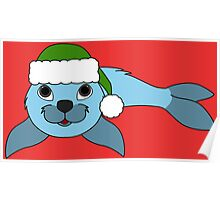 Light Blue Baby Seal with Christmas Green Santa Hat Poster