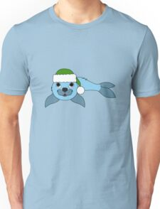 Light Blue Baby Seal with Christmas Green Santa Hat Unisex T-Shirt