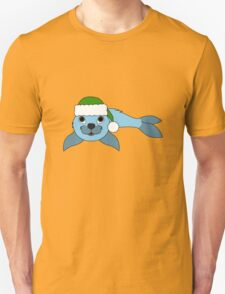Light Blue Baby Seal with Christmas Green Santa Hat T-Shirt