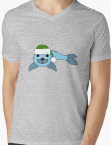 Light Blue Baby Seal with Christmas Green Santa Hat Mens V-Neck T-Shirt