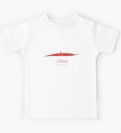 Adelaide skyline in red Kids Tee