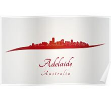 Adelaide skyline in red Poster