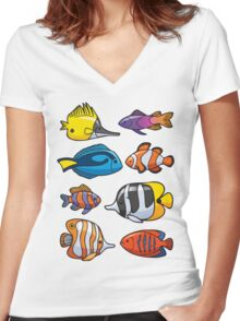 Tropical Fish Women's Fitted V-Neck T-Shirt