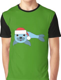 Light Blue Baby Seal with Christmas Red Santa Hat Graphic T-Shirt
