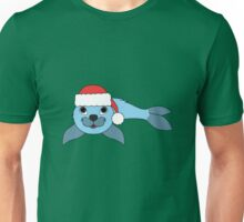Light Blue Baby Seal with Christmas Red Santa Hat Unisex T-Shirt
