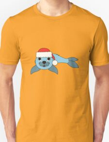 Light Blue Baby Seal with Christmas Red Santa Hat T-Shirt