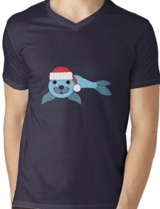 Light Blue Baby Seal with Christmas Red Santa Hat Mens V-Neck T-Shirt