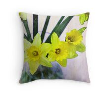 Daffodil Vase Throw Pillow