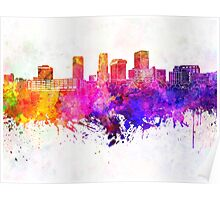 Akron skyline in watercolor background Poster