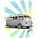 Volkswagen T-Shirt - Split Window Kombi (news print 3) by blulime
