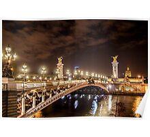 Alexander III bridge in Paris, France at night  Poster