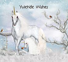 Yuletide - Yule, Greeting Card With Unicorns by Moonlake