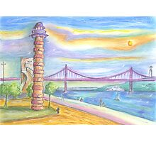tejo old lighthouse . lisbon Photographic Print
