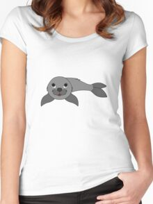 Gray Baby Seal Women's Fitted Scoop T-Shirt