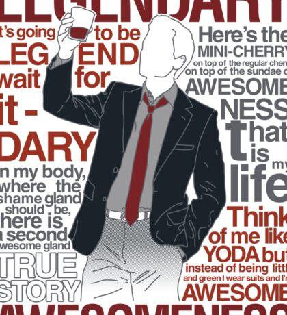 Barney Stinson - Legendary T-shirt of Awesomeness Sticker