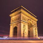 arch de triomphe in paris france at night  by hpostant
