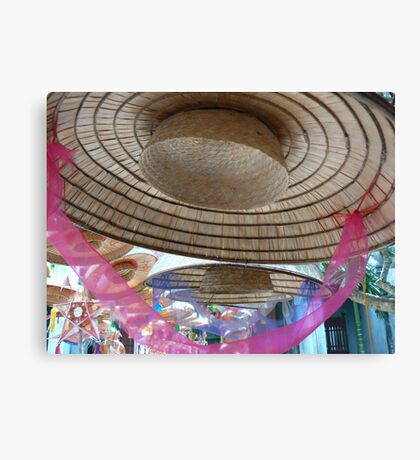 Hat with pink ribbon, Hanoi, Vietnam 2012 Canvas Print