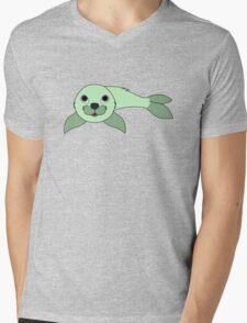 Light Green Baby Seal Mens V-Neck T-Shirt