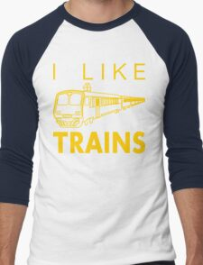 I like trains Men's Baseball ¾ T-Shirt
