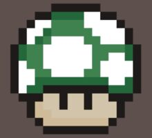 Pixel Mario Mushroom Green 1up by J Whitehouse