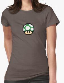 Pixel Mario Mushroom Green 1up Womens Fitted T-Shirt