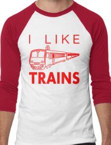I like trains Men's Baseball ¾ T-Shirt