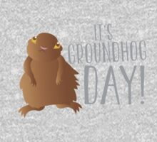 It's GROUNDHOG DAY! with cute little groundhog and snowflakes Kids Clothes