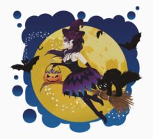 Witch and Full Moon 5 Kids Tee