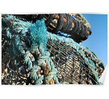 Lobster pots piled on harbourside, Salcombe, Devon, UK Poster