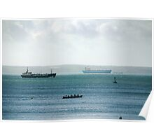 Silhouette of Gig boat racers with large cargo ships in background, St Mawes, Cornwall Poster