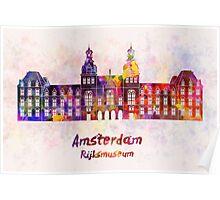 Amsterdam Rijksmuseum Landmark in watercolor Poster