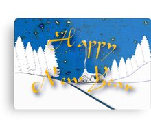Happy New Year from a Snowy Countryside Metal Print