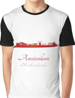 Amsterdam skyline in red Graphic T-Shirt