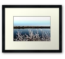 frosty branches in snow against cold blue sky and river Framed Print