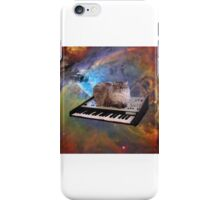 Cat in space sitting on a keyboard iPhone Case/Skin