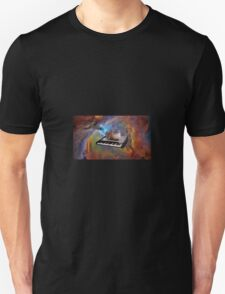 Cat in space sitting on a keyboard T-Shirt