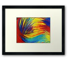 RAINBOW EXPLOSION - Vibrant Smile Happy Colorful Red Bright Blue Sunshine Yellow Abstract Painting  Framed Print