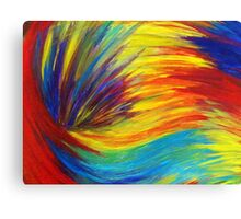 RAINBOW EXPLOSION - Vibrant Smile Happy Colorful Red Bright Blue Sunshine Yellow Abstract Painting  Canvas Print