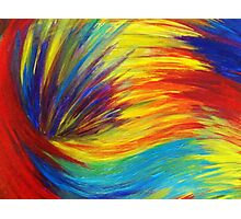 RAINBOW EXPLOSION - Vibrant Smile Happy Colorful Red Bright Blue Sunshine Yellow Abstract Painting  Photographic Print