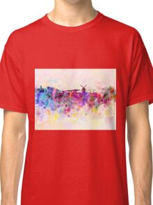 Amsterdam skyline in watercolor background Classic T-Shirt