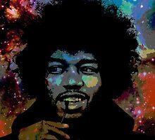 Jimi Hendrix in space fan art by artkid